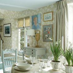 Curtains in Stripe & Dash Stone, Duck Egg and Denim | Vanessa Arbuthnott