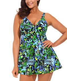 Look what I found on #zulily! Blue & Green Floral Tie-Front Swimdress - Women & Plus by swimsuitsforall #zulilyfinds