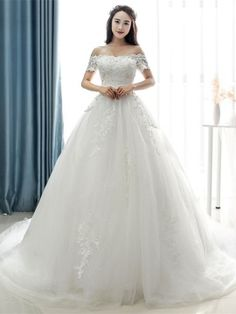 Off-The-Shoulder Short Sleeves Appliques Court Train A-Line Wedding Dress & quality Wedding Dresses