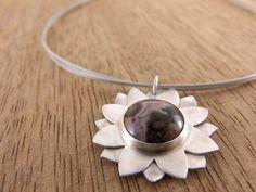 Sunflower Sterling Silver Pendant Jasper Gemstone READY TO SHIP by GirasoleHandmade on Etsy