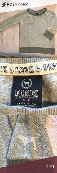 PINK Victoria's Secret gray sweatshirt!!!! gray sweatshirt... only worn twice.... perfect condition... size small 💕 not positive about the original price but i looked online at others and went off of similar jackets from their website PINK Victoria's Secret Sweaters Crew & Scoop Necks