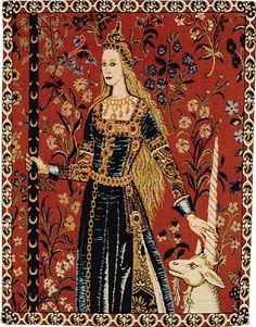"""Transitional"""" gowns. late 1400's to early 1500's La Dame à la Licorne -tapisserie Musée de Cluny (Paris) ."""