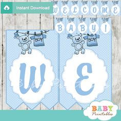 Printable baby boy clothes personalized baby shower banner decoration featuring a clothesline with blue baby clothing and a cute teddy bear. #babyprintables