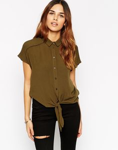 Image 1 of ASOS Sleeveless Tie Front Blouse with Pom Trim