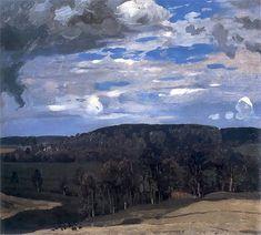 "huariqueje:  ""  Landscape with clouds (Summer Forest ) - Ferdynand Ruszczyc , 1900  Polish,1870-1936  Oil on canvas glued on cardboard. 41 x 47 cm.  """