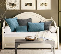 Charlotte Daybed with Trundle, Antique White--in the craft room, trundle used to store canvases