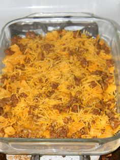 Walking Taco Casserole - corn chips, ground beef/taco mix, layered cheese.