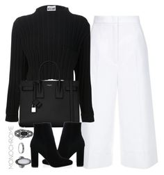 """""""Untitled #4208"""" by maddie1128 ❤ liked on Polyvore featuring ESCADA, Yves Saint Laurent, Topshop and monochrome"""