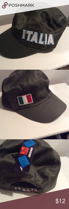 Khaki Italian Baseball Cap Khaki Italian baseball cap. OS fits all?  Italy written on one side and Italian flag on another. Italy on back of rim. New with tags. Accessories Hats