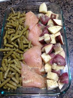 3 chicken breasts 4 medium red potatoes green beans (or broccoli!) 3 tbsp oil olive italian dressing mix packet  What You Do: Preheat oven to 350 degrees. Cut the chicken breasts in half. Cut the potatoes in to small chunks. Spray the bottom of a 13x9 pan, put the chicken in the middle, potatoes on one side and green beans on the other side. Top with half a package of italian dressing and pour oil olive over the top  Cover with aluminum foil and bake at 350 for about an hour!