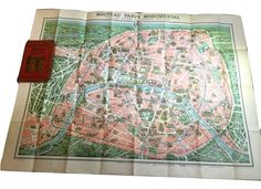 Plan Monumental Paris & Environs ca 1936 A. Leconte Fold Out Double Sided Map #ALeconteEditor