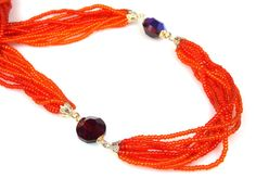 Vintage Eight Strand Orange Bead Red Crystal by TheFashionDen, $23.00