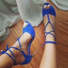 Royal Blue Lace Up Dress Sandals