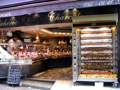 Boucherie Pascal Gosnet, St.Medard : 119, Rue Mouffetard, 5e Arrondissement, Paris. (intersection of rue Mouffetard & rue Pascal.) For pastries and hot rotisseries like roast pork, roast chicken.