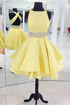 $149.99 Yellow Homecoming Dress,2017 short prom dress,a-line prom dress,open back homecoming dress