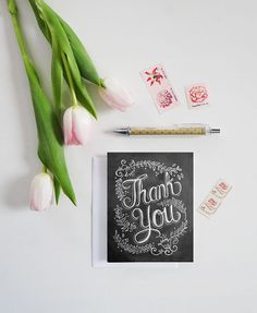 Thank You Card  Chalkboard Thank You Card   Floral by LilyandVal