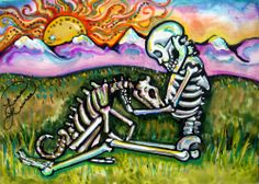 Lisa Luree art Original Day of the Dead SKELETON DOG painting on claybord ACEO