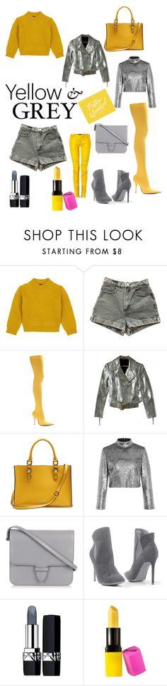 """Yellow & grey"" by boryanat ❤ liked on Polyvore featuring Comme Moi, American Apparel, Balenciaga, Topshop, Calvin Klein, A.L.C., Balmain, Alaïa, Venus and Christian Dior"