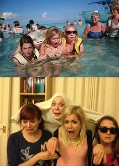 """Stingray Photobomb Recreation of the Day: Redditor emmagreen """"got a bit drunk and decided to recreate the Stingray pic with my girlfriends…"""""""