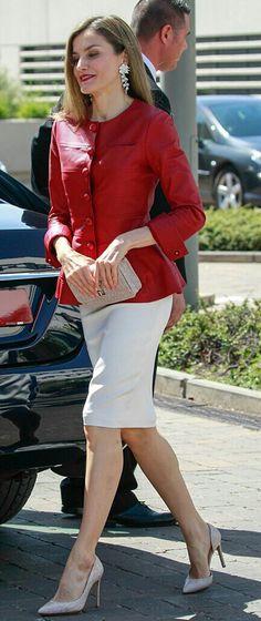 Letizia - red leather Carolina Herrera jacket - white Hugo Boss skirt - Magrit pumps and bag - Schield earrings