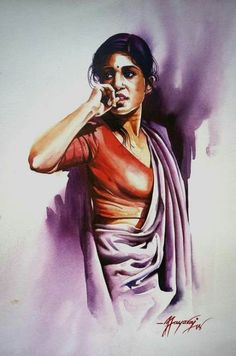 Ideas Travel Drawing Ideas Watercolour For 2019 Watercolor Art Paintings, Indian Art Paintings, Watercolor Portraits, Watercolour, Female Portrait, Portrait Art, Female Art, Portrait Ideas, Woman Portrait