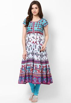 Aqua Blue Printed Cotton Kurta