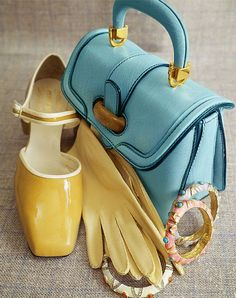1967 Caramel patent leather shoes piped in white by Cover Girl, pale blue buffalo leather bag with wooden clasp by Susan Gail, chamois gloves by Wear-Right, enamel bracelets by K_J