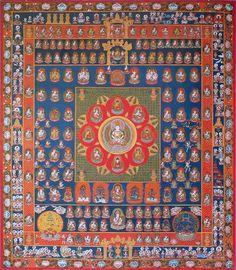 """胎蔵界曼荼羅 の画像 """"The nine luminaries appear often in Japan's Taizōkai 胎蔵界曼荼羅 or Womb World Mandala. Their anthropomorphic representations became popular after the introduction of Buddhism to China (1st/2nd centuries CE)."""" www.onmarkproductions.com/html/28-moon-stations.html"""