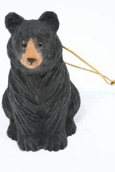 Carved Wood Black Bear Christmas Ornament Diy Knife Fish Ornaments Hand