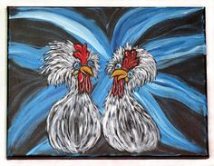 Chicken Wall Art / Original Acrylic Painting on Canvas / Whimsical Farmhouse Home Decor / Primitive Kitchen Wall Art / Handpainted Gift Idea Farmhouse Paintings, Farmhouse Wall Art, Rooster Painting, Rooster Art, Chicken Painting, Chicken Art, Your Paintings, Original Paintings, Canvas Paintings