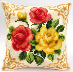 Cushion - Red and yellow roses. <3