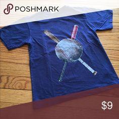 Baseball t-shirt C.W.D. Size 5 Blue shirt with baseball and bats Shirts & Tops Tees - Short Sleeve