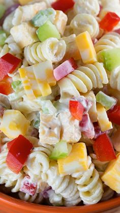 Creamy Cheddar Pasta Salad ~ with a simple dressing is a fantastic side dish for a summer BBQ! It's versatile too – add in broccoli or any other veggies that you'd like!