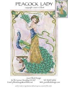 Joan Elliott Peacock Lady Cross Stitch Pattern