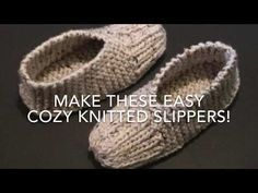 Full step by step tutorial to knit these easy cozy slippers. Here's the full pattern to knit child's, ladies or men's size slippers. Loom Knitting For Beginners, Easy Knitting Projects, Knitting For Kids, Knitting Socks, Free Knitting, Knitting Patterns, Knit Socks, Yarn Projects, Knitting Ideas