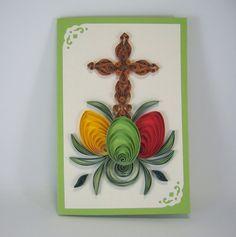 Tarjeta de Pascua Quilling Cruz y huevos de Pascua papel