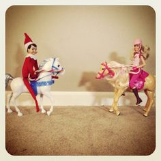 Elf on the Shelf Ideas: Jousting with Barbie
