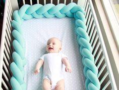 Braided Crib Bumper - Knot Pillow, Knot Cushion, Decorative Pillow, Bolster, Crib Bedding, Crib Sheets, Baby Bedding, Baby Shower Gift by JujuAndJake on Etsy https://www.etsy.com/listing/507296802/braided-crib-bumper-knot-pillow-knot