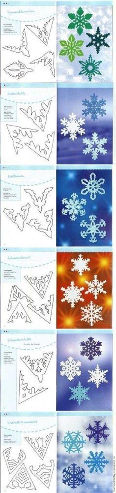 В этом году я декорирую дом к Новому году по минимуму, но от снежинок я не смогла отказаться. Обычно для вырезания снежинок я складываю бумагу на 8 частей, а в интернете увидела сложение в 6 частей и массу интересных силуэтов, которыми спешу с вами поделиться. Нам понадобится: - бумага, цветная и белая; - канцелярский зажим и ножницы. Для особо изысканных силуэтов еще скальпель и мат для раскроя.