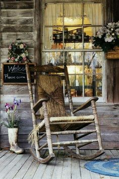 Country porch.  Love the chalkboard welcome.