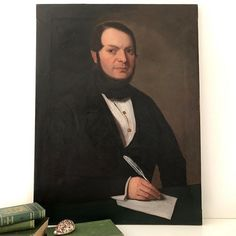 French Century Portrait of a Writer; striking dark tones set against the deep green of his desk and beautiful white feather quill. The painting shows signs of age and. White Feathers, Vintage Art, 19th Century, Gentleman, Writer, Portraits, French, Dark, Canvas