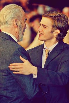 Christopher Lee and Hayden Christensen. No hard feelings. Woo for Count Dooku. Star Wars Love, Star War 3, Hayden Christiansen, Count Dooku, Star Wars Cast, Cute Stars, Anakin Skywalker, My Guy, Good Movies