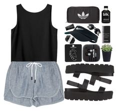 """""""Grey Lounge Shorts"""" by sno-via ❤ liked on Polyvore featuring Topshop, Monki, SPURR, rag & bone, Chanel, NIKE, adidas Originals, Pelle and NARS Cosmetics"""
