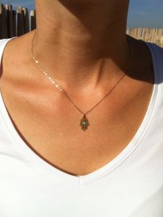 Gold hand necklace  Gold hamsa necklace Delicate by HLcollection, $28.00