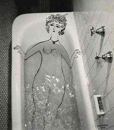 Hand drawn gallery girl bath by Saul Steinberg