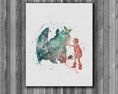Hiccup and Night Fury - Toothless, How to Train Your Dragon Poster - watercolor, Art Print, instant download, Watercolor Print, poster