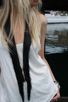 DIY fringe zipper necklace