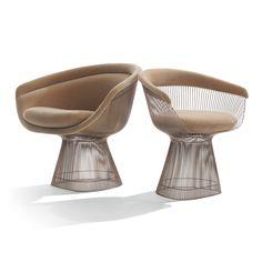 Grand fauteuil Platner tissu Alpaca - bronze métallisé - Knoll - The Conran Shop Eames, Luxury Furniture, Furniture Design, Contemporary Design, Modern Design, Warren Platner, Knoll, Steel Rod, Side Chairs