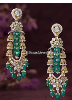 PMJ jewels showcase a range of diamond earrings that includes studs, long ones in different settings such as blue beads and emeralds. Jewelry Design Earrings, Unique Earrings, Diamond Earrings, Antique Jewellery Designs, Bridal Jewelry, Gold Jewelry, Jewelry Trends, Indian Jewelry, Chan Luu