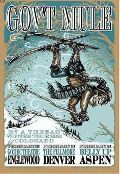 Original concert poster for Gov't Mule's Winter Tour 2010 in Colorado in 2010. 15 x 22 inch silkscreen print.